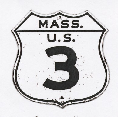 Historic shield for US 3 in Massachusetts