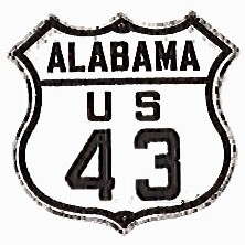 Historic shield for US 43 in Alabama