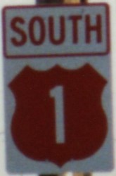 Photo colored shield for US 1 in Melbourne, Florida
