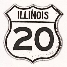 Historic shield for US 20 in Illinois