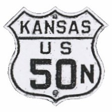 Historic shield for US 50N in Kansas