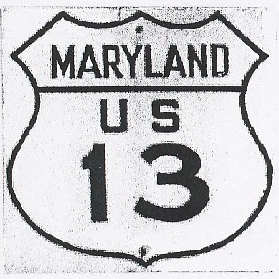 Historic shield for US 13 in Maryland