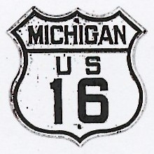 Historic shield for US 16 in Michigan