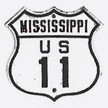 Historic shield for US 11 in Mississippi