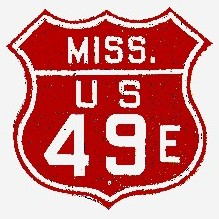 Historic shield for US 49E in Mississippi