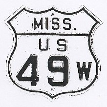 Historic shield for US 49W in Mississippi