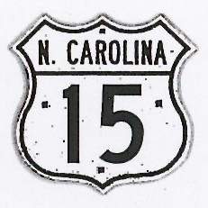 Historic shield for US 15 in North Carolina