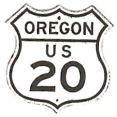 Historic shield for US 20 in Oregon