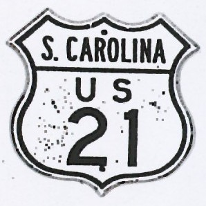 Historic shield for US 21 in South Carolina