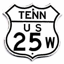 Historic shield for US 25W in Tennessee