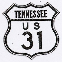 Historic shield for US 31 in Tennessee