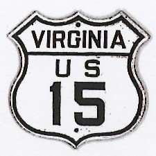 Historic shield for US 15 in Virginia