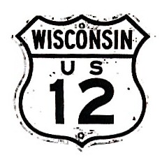 Historic shield for US 12 in Wisconsin