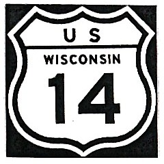 Historic shield for US 14 in Wisconsin