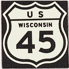 Historic shield for US 45 in Wisconsin