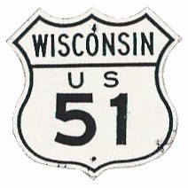Historic shield for US 51 in Wisconsin
